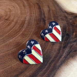 Jewelry - Vintage Red White Blue Flag Heart Earrings